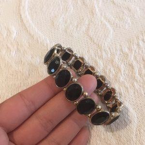 Black and gold elastic bracelet